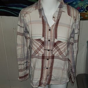 free people plaid button down size xs